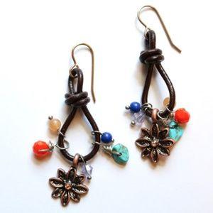 SALE - Leather Cord & Flower Charm Brass Earrings